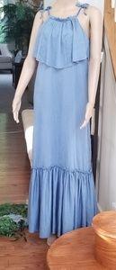 Free People Coco Popover Maxi Dress M Slate Blue